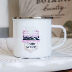 Domovi Bílý smaltovaný plecháček s nápisem Home Office 360ml