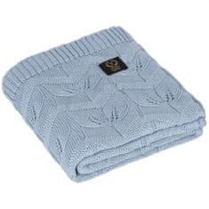 YOSOY LEAVES Detská deka z bambusu 50% a bavlny 50%, 95x85 cm, modrá