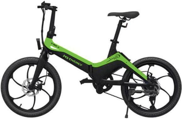 Elektryczny, składany rower MS Energy E-bike i10 do jazdy terenowej i miejskiej mocny silnik nadmuchiwane opony duże koła kompaktowe wymiary solidna konstrukcja