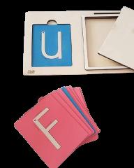 LINIT DESIGN Velike tiskane črke z brusnim papirjem - peščena abeceda