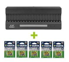 Oxe  AA akkumulátortöltő 20 db-hoz, kijelzővel és 20 db újratölthető akkumulátorral Varta 56706 R6 2100mAh NIMH basic