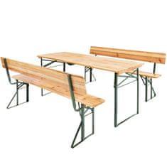 tectake Pivní set stůl a lavice - hnědá