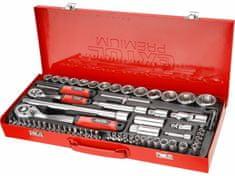 """Extol Premium Kľúče nástrčné 1/4"""", 1/2"""", 65-dielna sada, kovový kufor"""