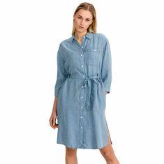 Lee Šaty Long Denim Dress Faded Blue