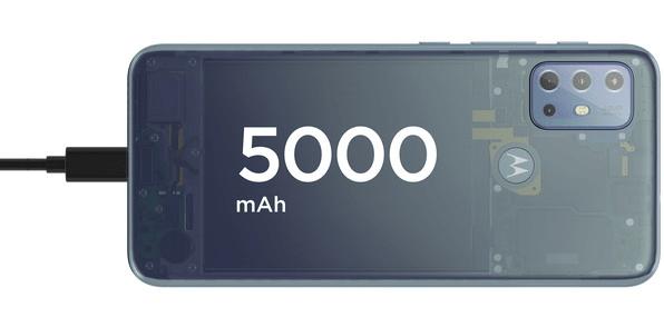 moderní mobilní dotykový telefon smartphone Motorola G20 power 10w nabíjení 5000 mah baterie 48h výdrž lte wifi Bluetooth 2 sim paměťová karta NFC platby 6,5palcový displej HD+ Max Vision displej 48mpx fotoaparát IP52 google assistant výkonný procesor kvalitní displej čtečka otisku prstů odemykání  obličejem