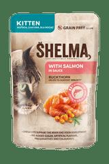 SHELMA Bezobilné dusené filetky pre mačiatka s morčacím a brusnicami 28x85 g