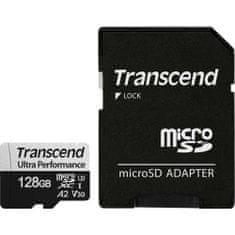 Transcend Micro SDXC spominska kartica, 128 GB, 340S, 160/125 MB/s, C10, U3, V30, A2 + SD adapter