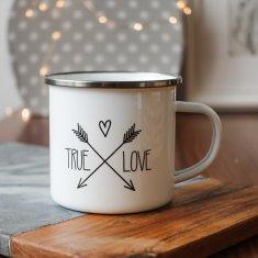 Domovi Bílý smaltovaný plecháček s nápisem True Love 360ml