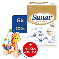 Sunar Premium 3, batoľacie mlieko, 6x600g