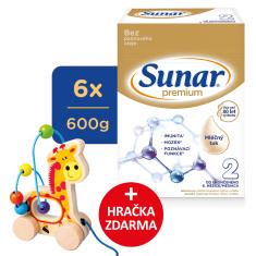 Sunar Premium 2, pokračovacie dojčenské mlieko, 6x600g