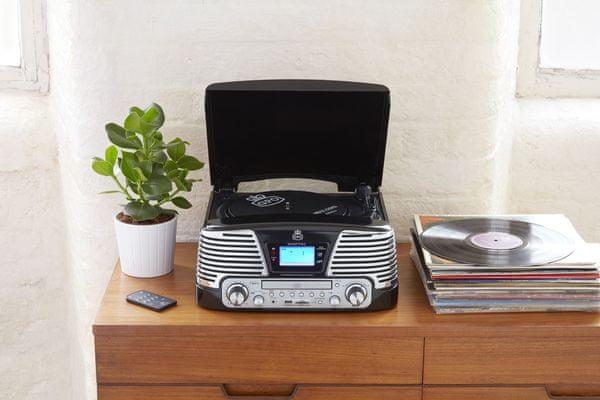 krásný retro gramofon gpo retro memphis náhradní stylus bass boost funkce automatické zastavení dálkové ovládání integrovaný zesilovač vestavěné reproduktory cd přehrávač