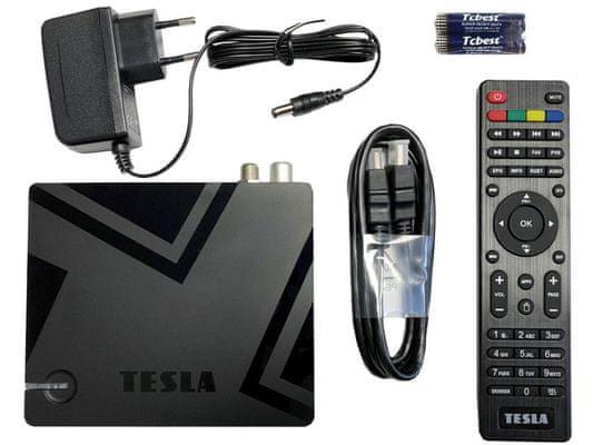 multimediální centrum tesla mediabox xt550 android 9.0 wifi hdmi usb čtečka karet přehrávání filmů fotografií hudby nahrávání na usb db-t2 přijímač ram 2 gb rom16 gb dálkové ovládání dolby atmos menu v českém jazyce
