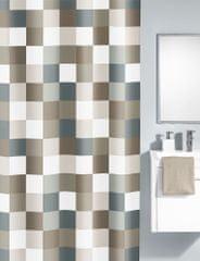 Kleine Wolke zasłona prysznicowa Check 180x200 cm, brązowo - szara krata