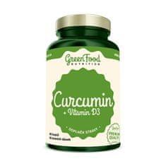 GreenFood Nutrition Curcumin + vitamín D3 60 kapslí