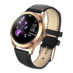 NEOGO SmartWatch Glam, női okosóra, arany/fekete bőr