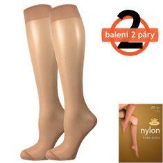 Fuski - Boma podkolenky NYLON knee-socks 20 DEN / 2 páry Barva: beige, Velikost: uni