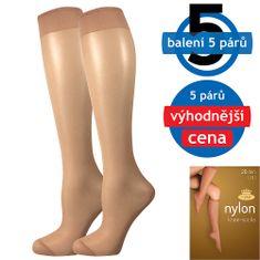 Fuski - Boma podkolenky NYLON knee-socks 20 DEN / 5 párů Barva: beige, Velikost: uni