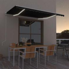 Vidaxl Automatická markýza LED a senzor větru 400 x 350 cm antracitová