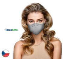 BreaSAFE® 5x Český NanoRespirátor BreaSAFE® FFP2 - Znovupoužitelný - šedá M (39,90 Kč/kus)