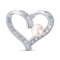 JwL Luxury Pearls Błyszcząca broszka w kształcie serca z prawdziwą perłą i kryształkami JL0695