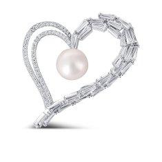 JwL Luxury Pearls Błyszcząca broszka o asymetrycznym sercu z prawdziwą perłą i kryształkami JL0696