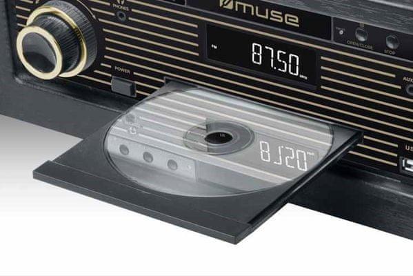 moderní retro gramofon muse MT-115W fm tuner rms 20 w reproduktory usb nahrávání i přehrávání dřevěná skříň cd mechanika Bluetooth technologie aux in