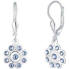 Praqia Ezüst virág fülbevalók kék kristályokkal Mia NA6087_RH