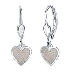 Praqia Ezüst fülbevaló lányoknak Krém szív NA6350_RH