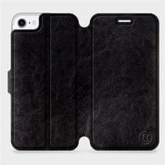 Mobiwear Parádní flip pouzdro na mobil Apple iPhone 8 v provedení C_BLP Black&Orange s oranžovým vnitřkem