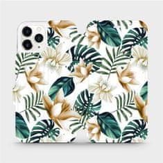 Mobiwear Flipové pouzdro na mobil Apple iPhone 11 Pro - MC07P Zlatavé květy a zelené listy