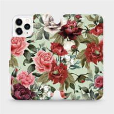 Mobiwear Flipové pouzdro na mobil Apple iPhone 11 Pro - MD06P Růže a květy na světle zeleném pozadí
