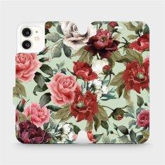 Mobiwear Flipové pouzdro na mobil Apple iPhone 11 - MD06P Růže a květy na světle zeleném pozadí