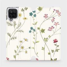 Mobiwear Flipové pouzdro na mobil Samsung Galaxy A12 - MD03S Tenké rostlinky s květy