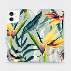 Mobiwear Flipové pouzdro na mobil Apple iPhone 11 - MC02S Žluté velké květy a zelené listy