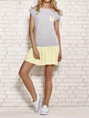 TFG Šedé šaty s nariasenou žltou sukňou EB026 - L