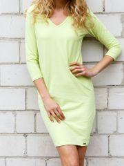 TFG Limetkové šaty s večkovým výstrihom EB010 - S