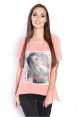 Oxyd Ružová blúzka/tričko s potlačou fotky ženy OX2570 - UNI