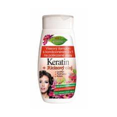 Bione Cosmetics Šampon z balzamom 2 v 1 za poškodovane lase Keratin + Ricinový olej 260 ml