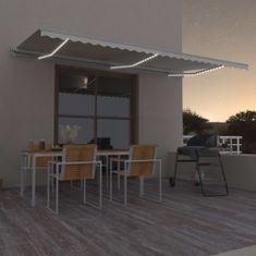 shumee krémszínű automata szélérzékelős és LED-es napellenző 600x300cm