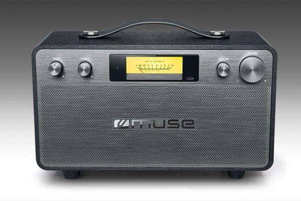 moderní reproduktor muse m-670bt Bluetooth aux in vstup napájení z elektrické sítě snadno přenosný výborné audio vlastnosti celkový hudební výkon 40 w nastavitelné basy a výšky nfc