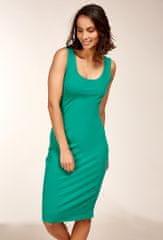 PARIS DESIGN Letné midi šaty puzdrového strihu v zelenej farbe - uni