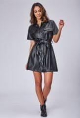 PARIS DESIGN Krátke čierne šaty z ekokože - uni