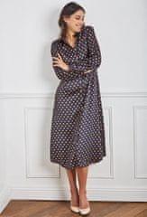 PARIS DESIGN Tmavo modré bodkované maxi šaty - S