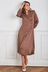 PARIS DESIGN Hnedé bodkované maxi šaty - S