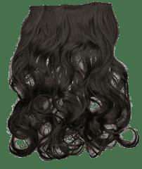 Vipbejba Flip-in/neviditelné syntetické prodloužení vlasů, kudrnaté, tmavě hnědé F5