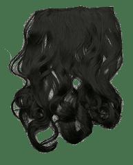 Vipbejba Flip-in/neviditelné syntetické prodloužení vlasů, kudrnaté, barva extrémně černé F1