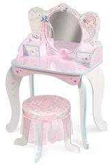DeCuevas lesena toaletna miza z ogledalom 55541 + leseni stol in dodatki Magic Maria