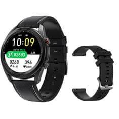 Wotchi Smartwatch W75B - Black Leather + silicone strap