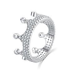 MOISS Luxusný strieborný prsteň so zirkónmi Kráľovská korunka R00021 striebro 925/1000