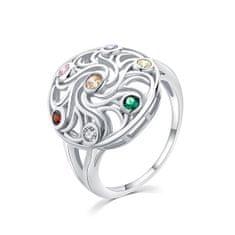 MOISS Hravý strieborný prsteň s farebnými zirkónmi R00021 striebro 925/1000